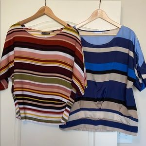 Two Women's M Ny&Co Striped Cinched Waist Tops